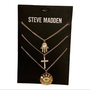 Steve Madden 3-Layers Goldtone Charm Necklace